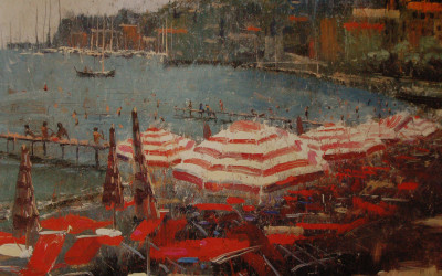 1996 – Red Striped Umbrellas, Santa Margherita Ligure, oil on linen, 16×20