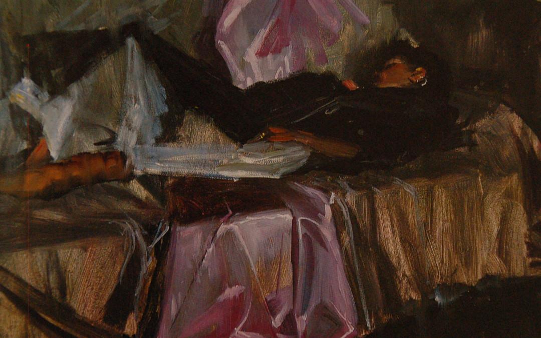 1999 – Rebecca Resting, oil on linen, 16×20