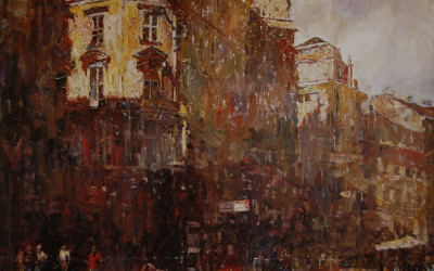2000 – Sunrise On The Graben, oil on linen, 36×48