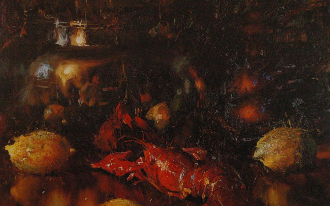 2002 – Lobster With Lemons, oil on linen, 24×30