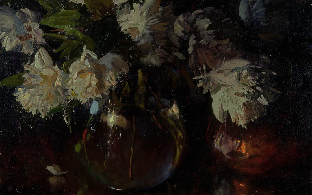 2002 – White Peonies, oil on linen, 24×30