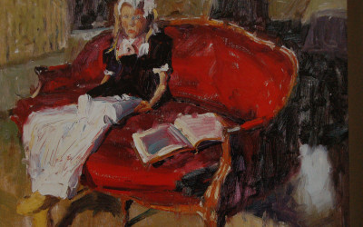 2003 – Emily on The Red Settee, oil on linen, 16×20