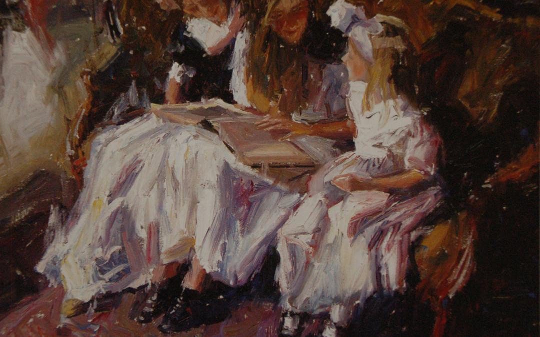 2003 – Three Girls on The Green Settee, oil on linen, 24×30