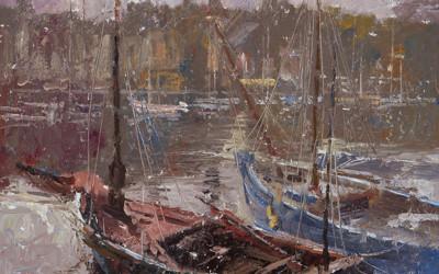 2005 –  Deux Bateaux, Vieux Port, Honfleur, oil on linen, 16×20