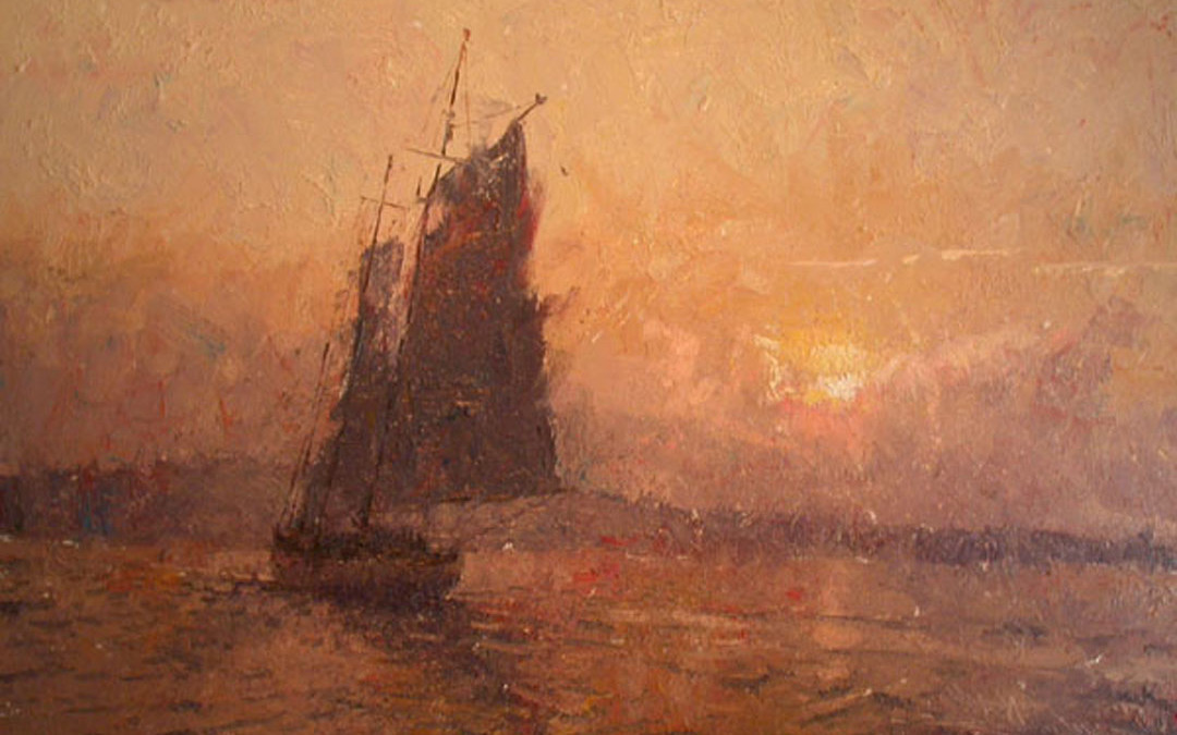 2005 – Sailing Into Rockport At Sunset, oil on linen, 24×36
