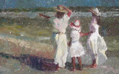 2006 – Three Girls At The Beach, oil on linen, 24×36