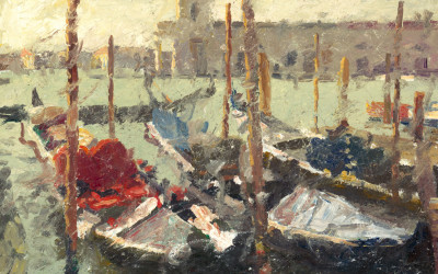 2009 – Venice, Gondolas, oil on linen, 16×20