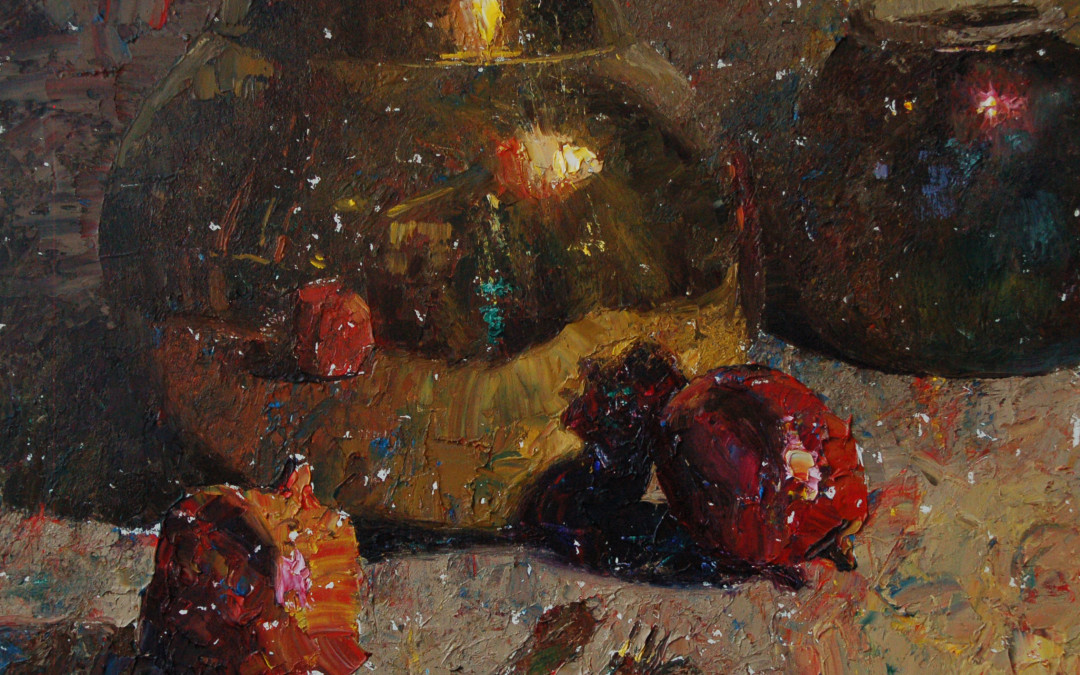 2011 – Pomegranates & Brass, oil on linen, 16×20