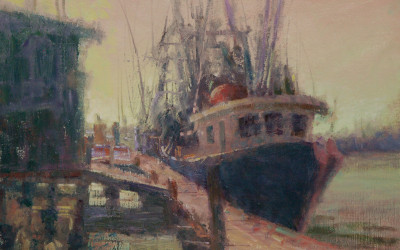 2012 – Shrimp Boat, Early Morning, oil on linen, 16×24