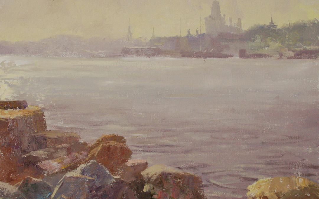 2012 – Gloucester, View from Rocky Neck Marine Railway, oil, 16×20