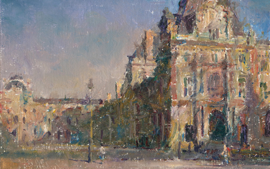 2012 –  The Louvre, Paris, Late Afternoon, oil on linen, 9×12