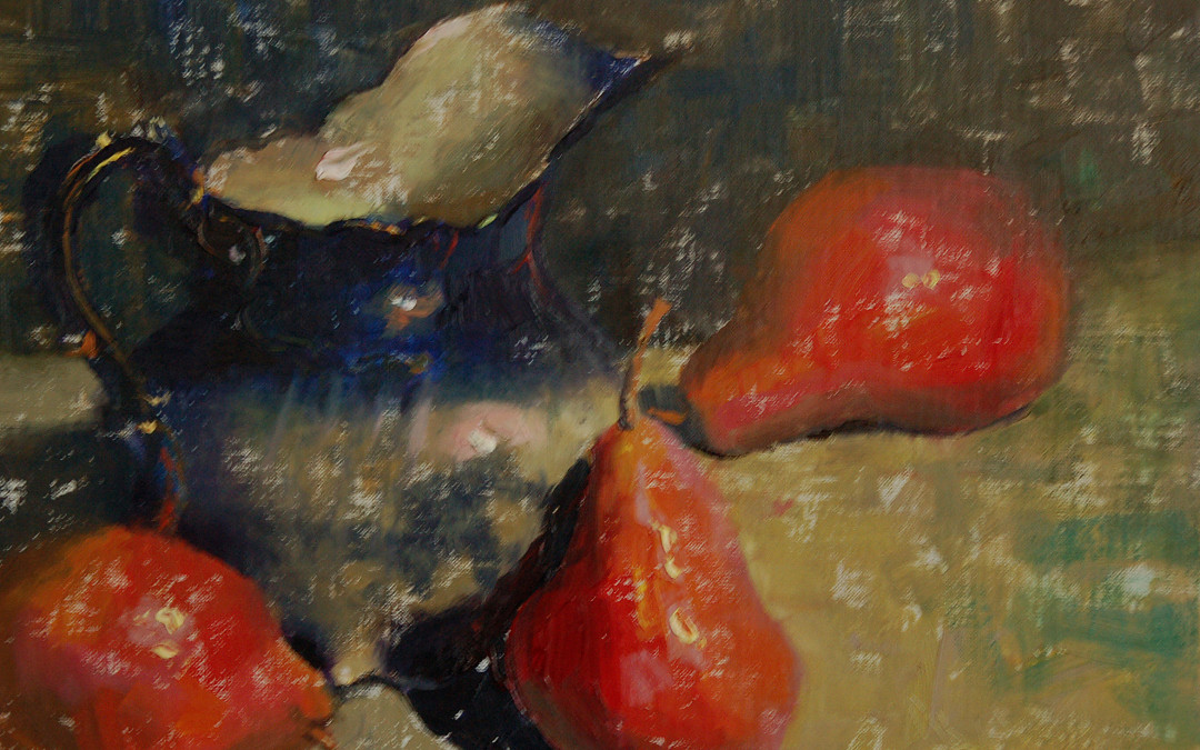 2011 – Flow Blue With Three Pears, oil on linen, 9×12