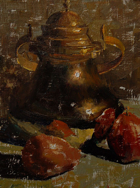 2011 –  Two Pears and Brass Pot, oil on linen, 12×9