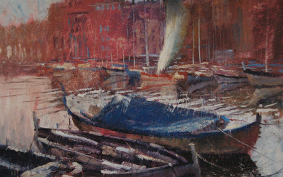 1995 – Cote D'Azur, Port de Cannes, oil on linen, 16×20