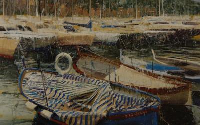 1996 – Boat With Blue Stripes, Gozzo Ligure De Tilin, Santa Margherita Ligure, oil