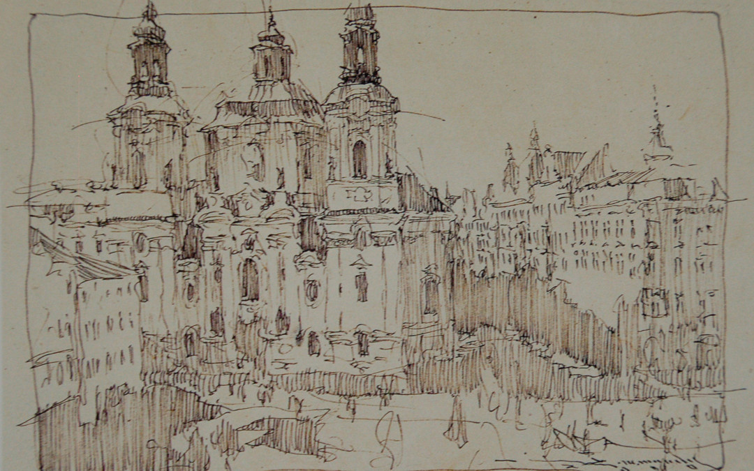 2000 – Prague, Church of Saint Nicholas, pen and ink, 5 x7