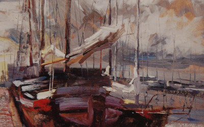 2002 – Harbor at Marken Netherlands, oil on linen, 20×16