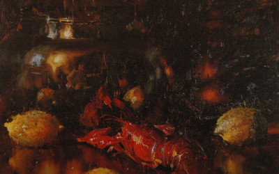 2002 – Lobster With Lemons, oil on linen, 24×30