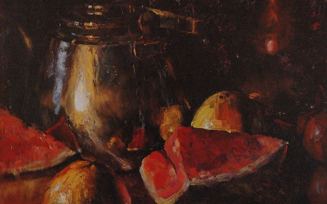 2002 – Watermelon, Brass & Copper,   oil on linen,  24×30