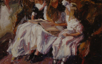 2003 – Three Girls on The Green Settee, oil on linen, 24×30