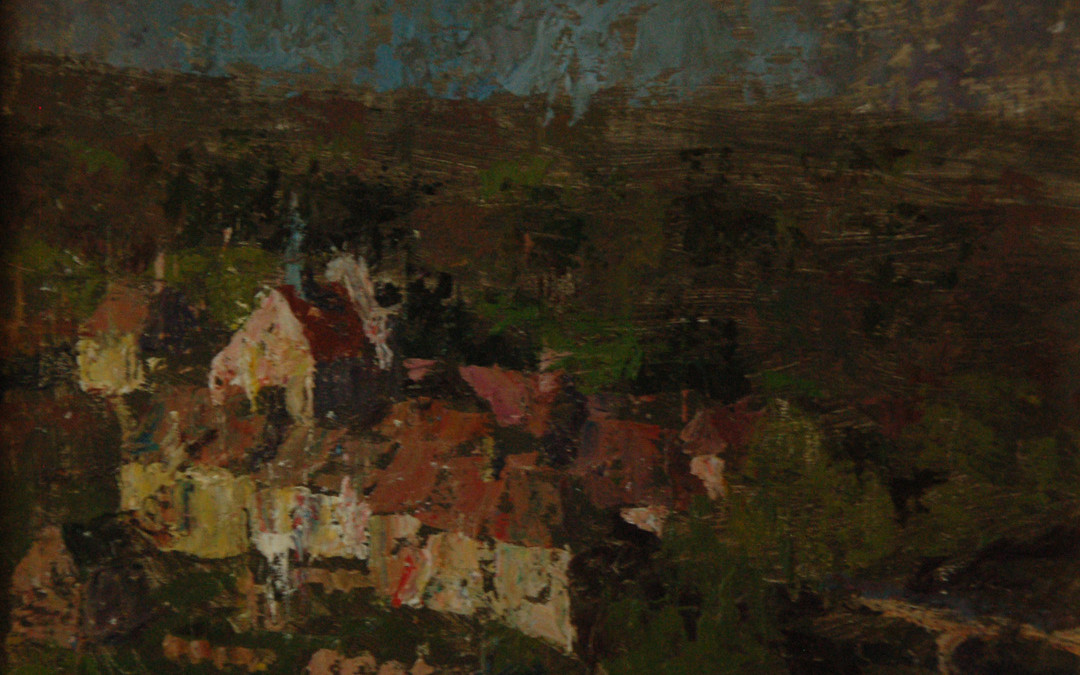 2005 – Ville Basse Rooftops, Angles sur L'Anglin, oil on linen, 9×12