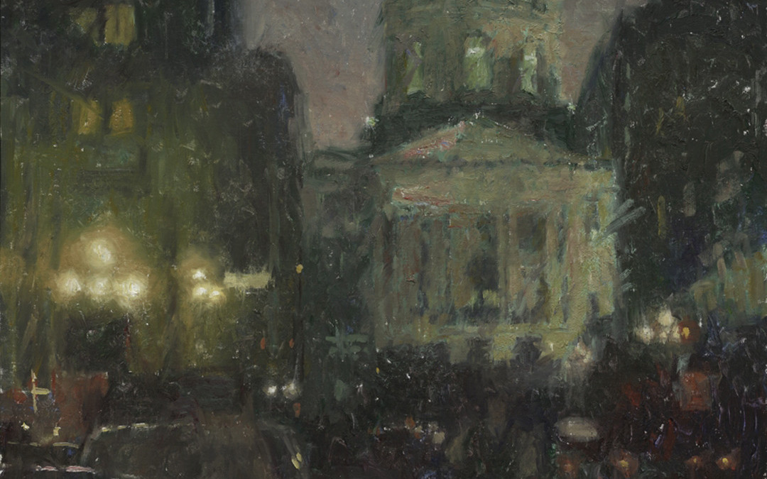 2006 – Approaching The Capitol Building At Dusk, oil on linen, 36×36