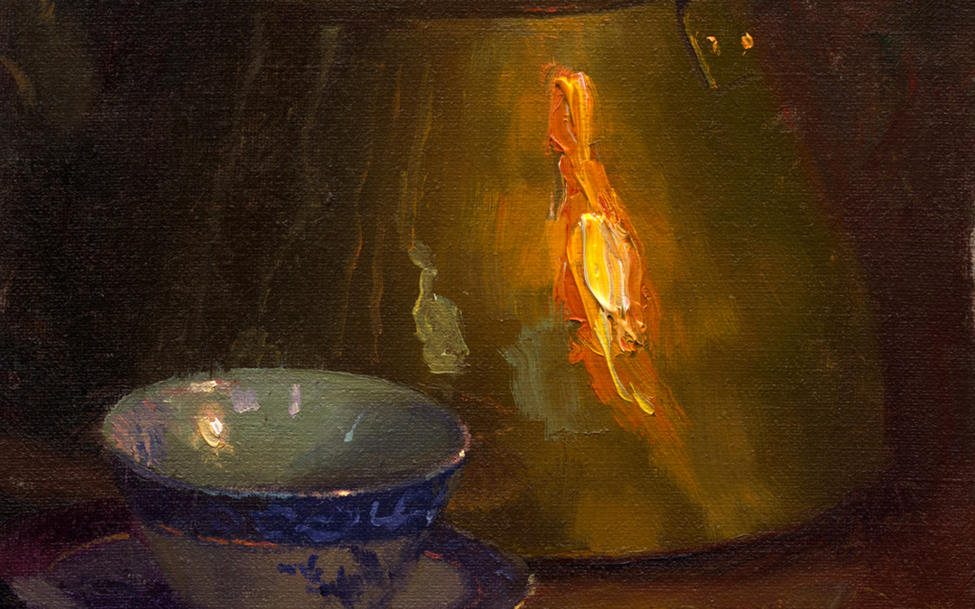 2007 – Flow Blue Teacup With Brass, oil on linen, 12×9