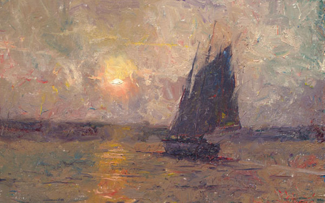 2008 – Sunset at Rockport, oil on linen, 14×21