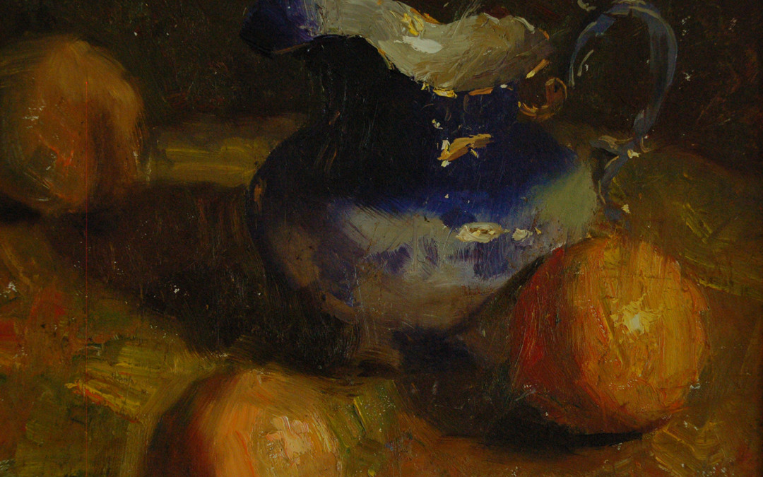 2009 – Flow Blue Pitcher With Three Oranges, oil on linen, 9×12