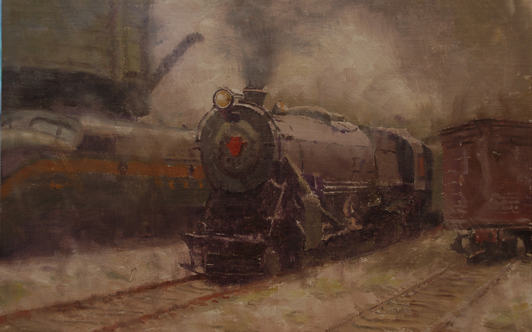 2010 – Pennsy K4 Coming into the Yard #2, oil on linen, 9×12