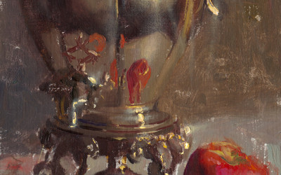 2011 – Silver Coffee Urn, oil on linen, 12×9