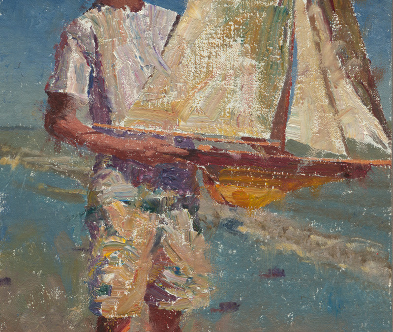 2012 – Jake With Pond Yacht At The Beach, oil, 12×8