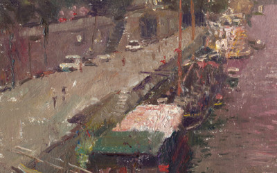 2012 – Boats, The Seine, oil on linen, 12×8