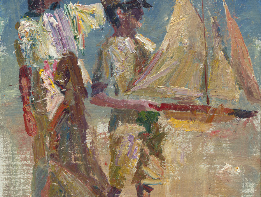 2012 – Anne & Jake With Pond Yacht, oil on linen, 12×9
