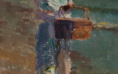 2012 – Emily With Basket At The Beach, oil on linen, 9×6