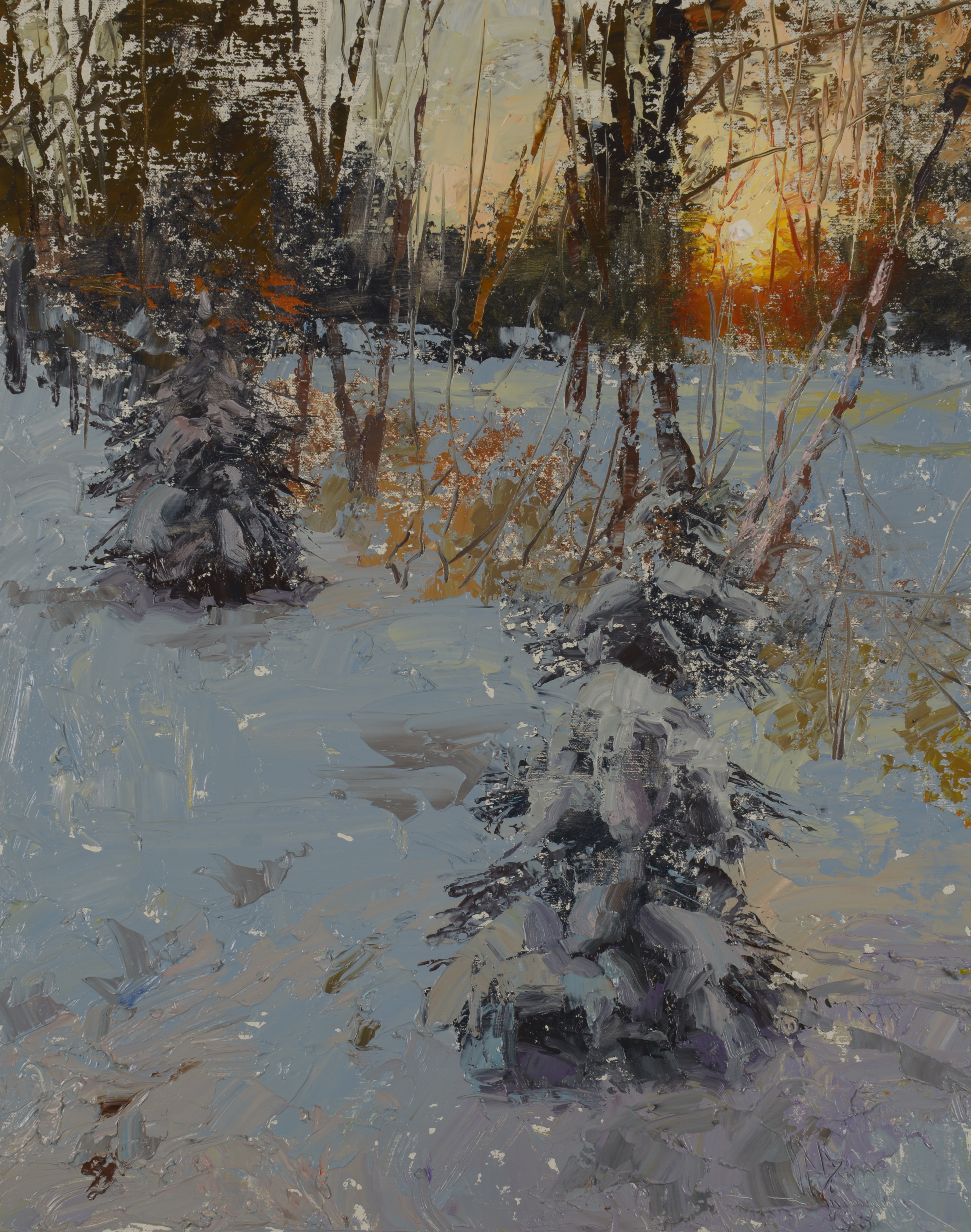 2013 sunrise our backyard oil painting c w mundy