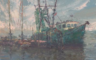 "2013 –  ""Miss Cher"" Shrimper, San Carlos Island painting"