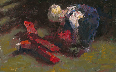 2013 – The Red Airplane, 16×20 oil painting
